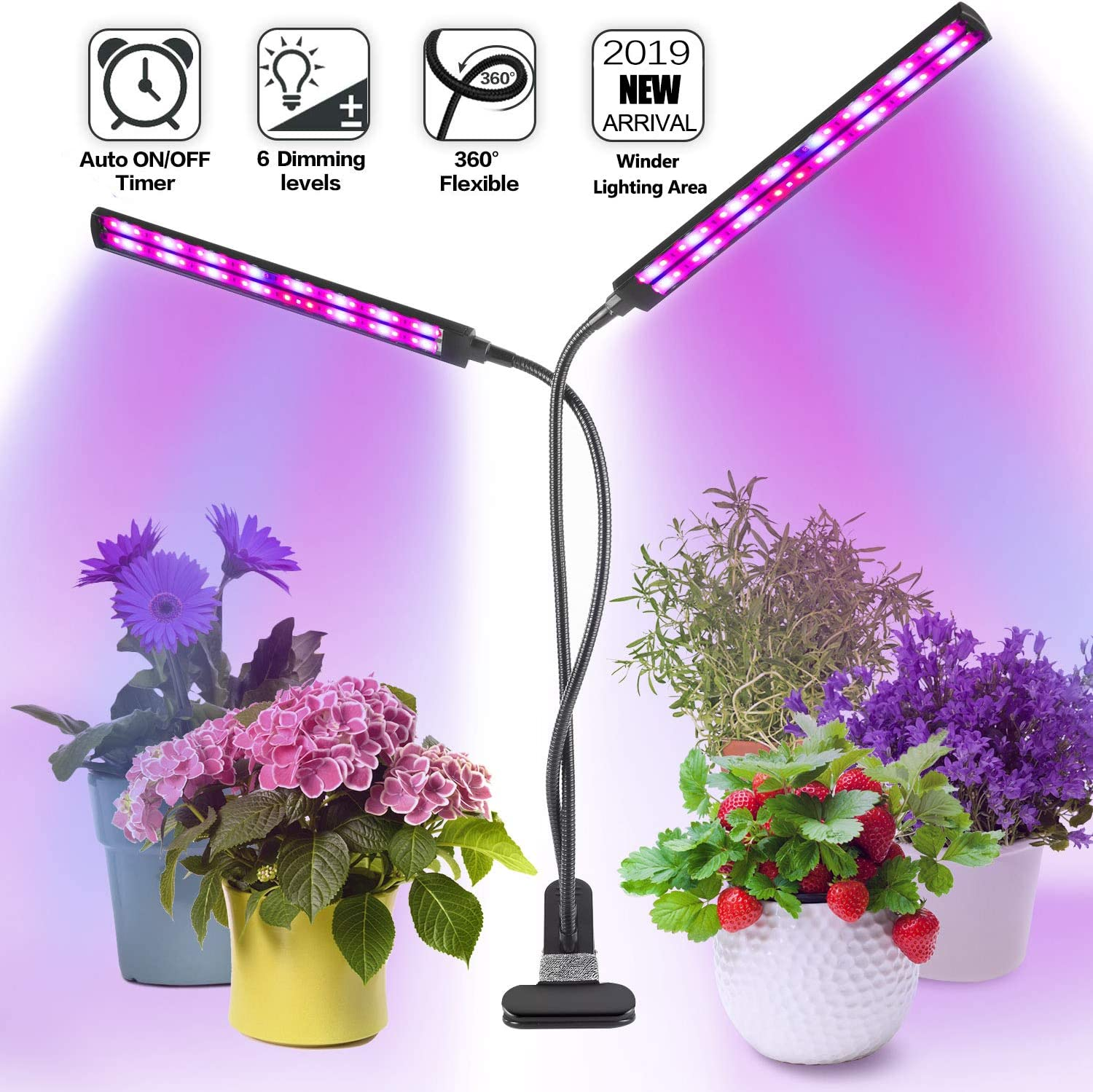 Grow Light Plant Light for Indoor Plants -Flysight Upgraded LED Grow Light with Clip 2019 Unique Design Indoor Plant Light Grow Light Growing Lamp with Timer 6 Dimmable 3 Switch Modes Full Spectrum