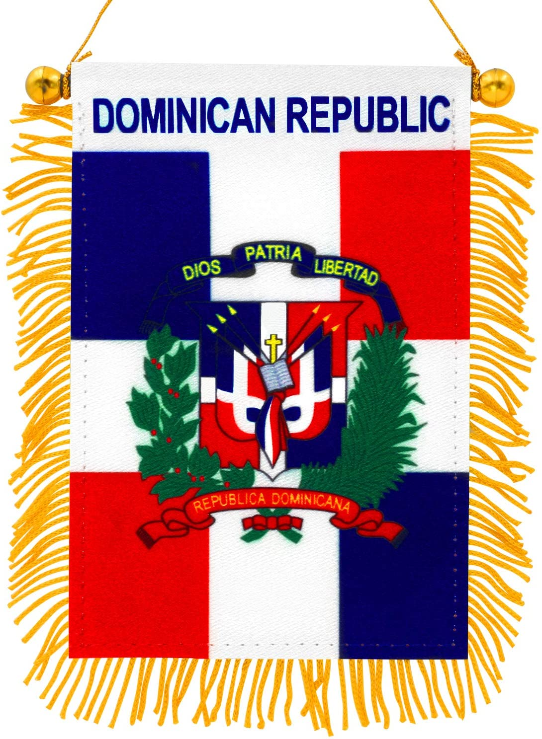 "Anley 4"" X 6"" The Dominican Republic Fringy Window Hanging Flag - Mini Flag Banner & Rearview Mirror Décor - Fringed & Double Sided - Dominican Rearview Flag with Suction Cup"