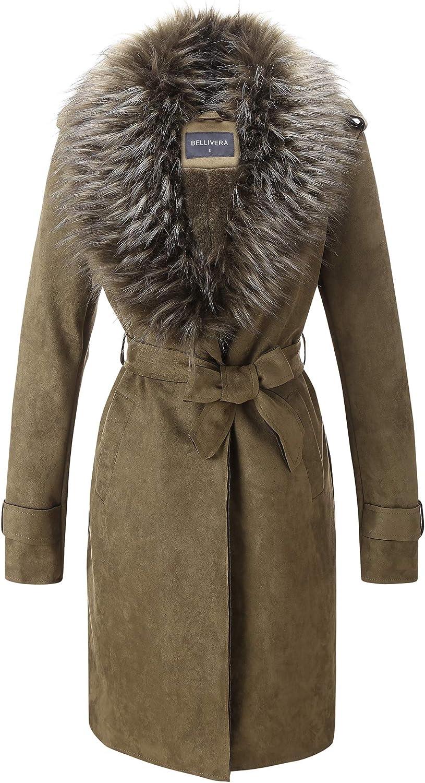 Amazon.com: Bellivera Women's Faux Suede Long Jacket,Lapel Outwear Trench  Coat Cardigan with Detachable Faux Fur Collar: Clothing