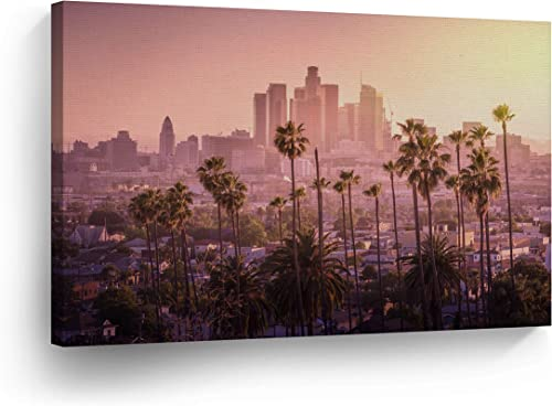 Los Angeles Wall Art Aerial View of the Pink Sunset LA View Canvas Print California Home Decor Artwork Gallery Wrapped Wood Stretched and Ready to Hang