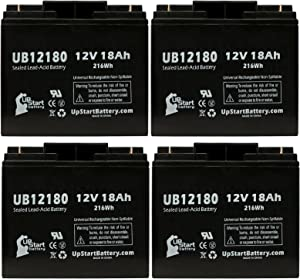 4 Pack Replacement for APC DLA2200 Battery - Replacement UB12180 Universal Sealed Lead Acid Battery (12V, 18Ah, 18000mAh, T4 Terminal, AGM, SLA)