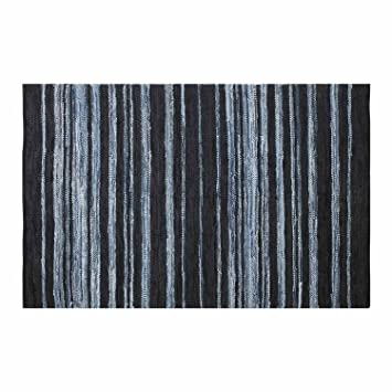 Homescapes Contemporary Style Striped Rug Texas Navy Blue Light