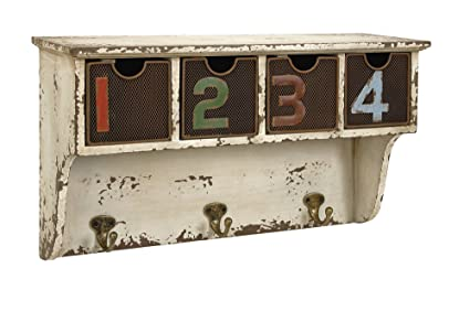 Merveilleux IMAX 73082 Harmon Wall Shelf With Hooks   Decorative Shelving Unit,  Distressed Finish, Vintage