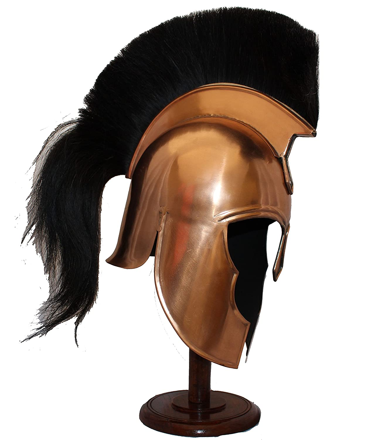レプリカヘルメット Copper Spartan Helmet with 黒 Plume