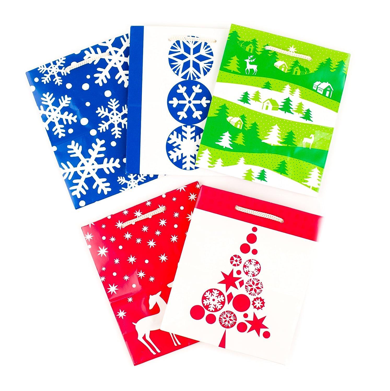 Hallmark Christmas Small Gift Bags (Blue Christmas Icons, 5 Pack) 5XGB1796