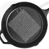 """Ationgle 8""""x6"""" Stainless Steel Cast Iron Cleaner 316L Chainmail Scrubber for Cast Iron Pan Pre-Seasoned Pan Dutch Ovens Waffle Iron Pans"""