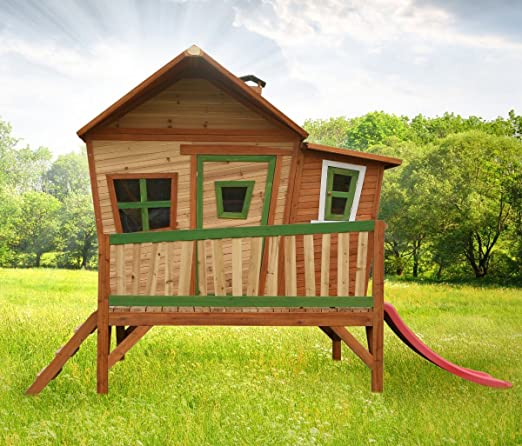 Casa de juguete con tobogán y Veranda Madera Casa de juguete parte cabaña para niños Jardín: Amazon.es: Jardín