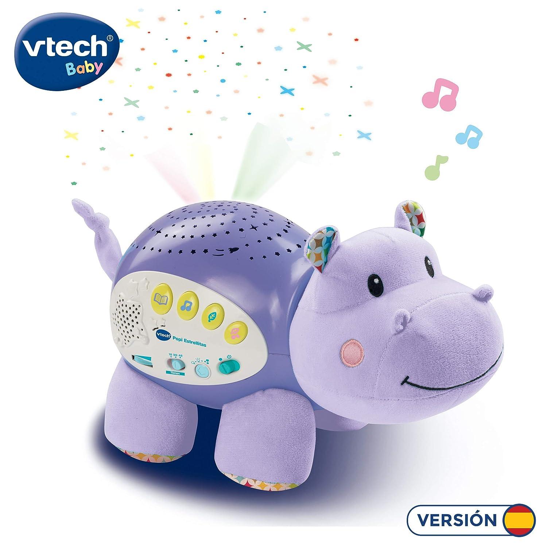 VTech Baby - Popi estrellitas, Proyector de bebe con música relajante para ayudarle a dormir, historias, sonidos de la naturaleza, rimas infantiles y ...