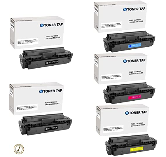 5-Pack Toner Tap TM HIGH YIELD Compatible HP 410X CF410X CF411X CF412X CF413X For HP Color LaserJet M452dn M452dw M452nw M477fdw M477fnw M477fdn Printers at amazon
