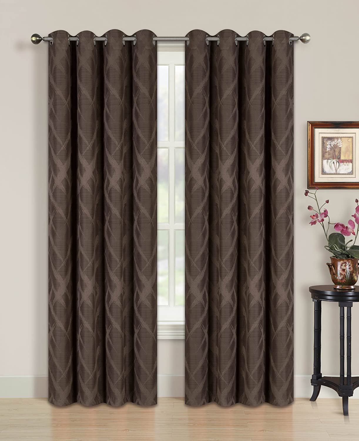 All American Collection New 2 Panel Solid Slashed Diamond Design Blackout Curtain Set Coffee