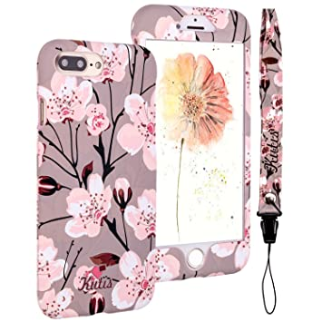 Funda 360 Plus Grados iPhone 8 Plus, iPhone 7 Plus Case, ZXK CO Retro Flores PC Duro Plástico Integral Para Ambas Caras Full Body Anti-Shock ...