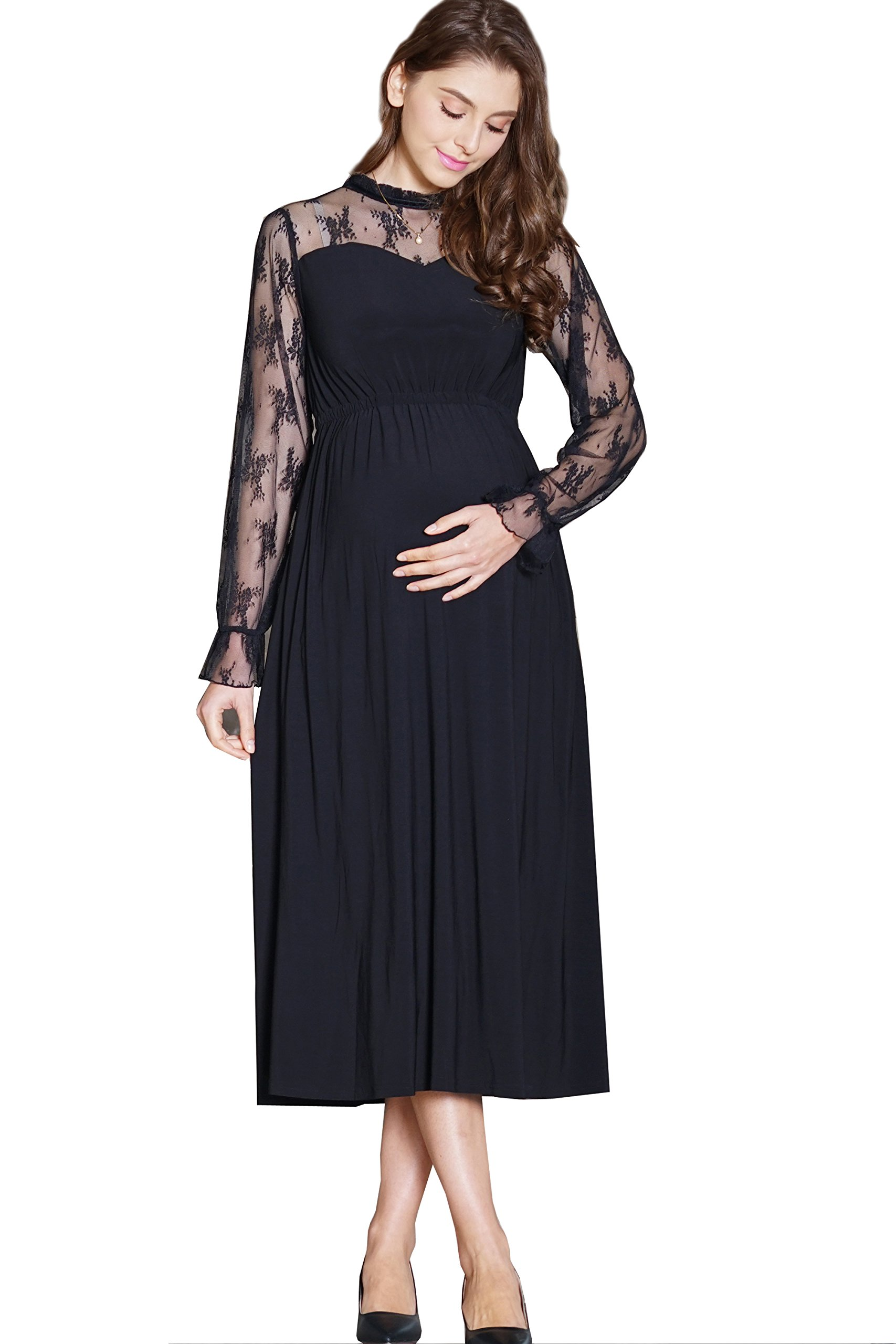 Maternity and Nursing Classic Baptism Long Sleeve Dress Black L by Sweet Mommy