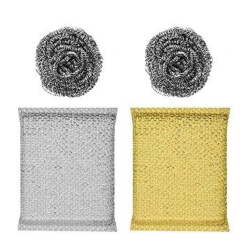 BESTONZON 2 esponjas y 2 lanas de acero Juego de restregar con esponja para lavar platos, sartenes, ollas (color al azar): Amazon.es: Hogar
