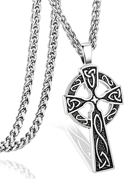 Amazon.com: ORAZIO - Collar con colgante de cruz celta de ...