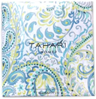 Tahari Luxury Cotton Blend Shower Curtain Turquoise Aqua Gray Green Grey  Damask Paisley Design  BotehAmazon com  Tahari IZMIR Fabric Shower Curtain Blue Green Yellow  . Yellow And Teal Shower Curtain. Home Design Ideas