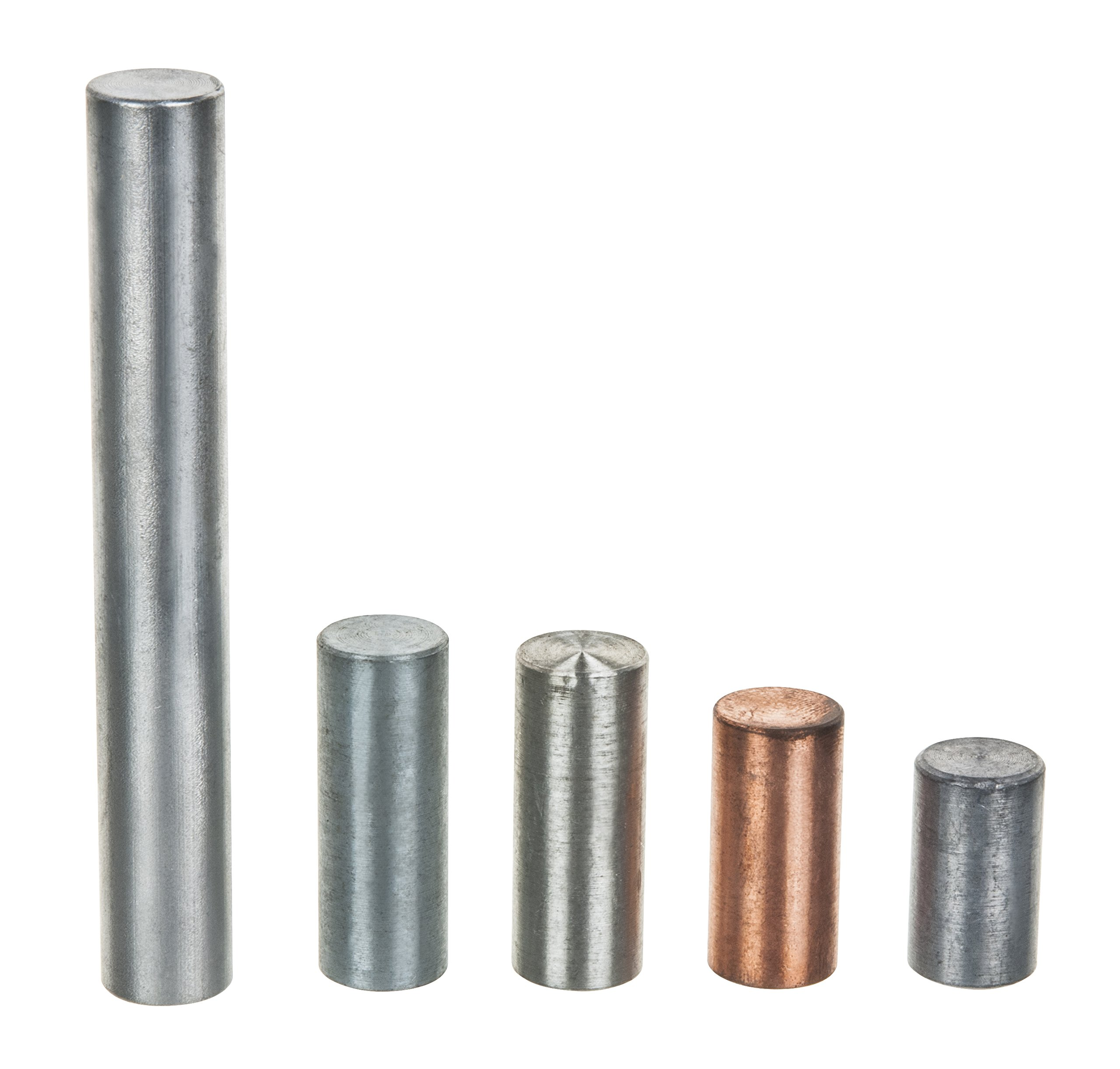 Equal Mass (30g) Cylinders, Set of 5 Metals, Varied Lengths and 0.5'' Diameter Aluminum, Copper, Tin, Zinc, Lead - For use with Density, Specific Gravity, Specific Heat Activities - Eisco Labs