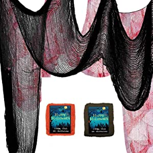 """2Pcs Scary Halloween Decor Creepy Cloth Decorations 39"""" x157''- Halloween Haunted House Party Decoration Supplies (Black/Bloody)"""