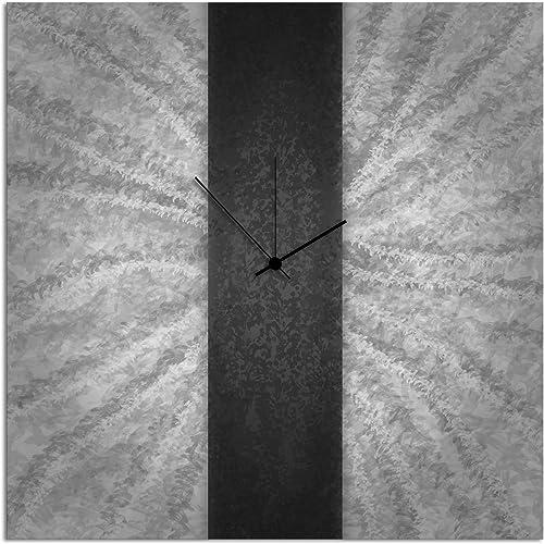 Metal Art Studio Black Stripe Clock Contemporary Metal Wall Clock