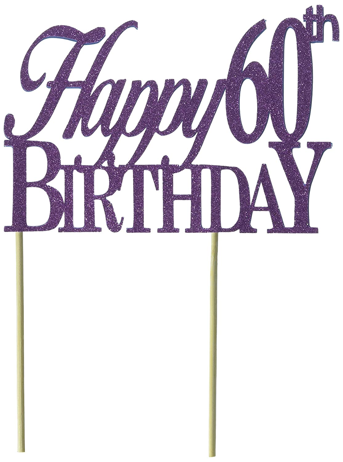 Amazon All About Details Purple Happy 60th Birthday Cake Topper Kitchen Dining