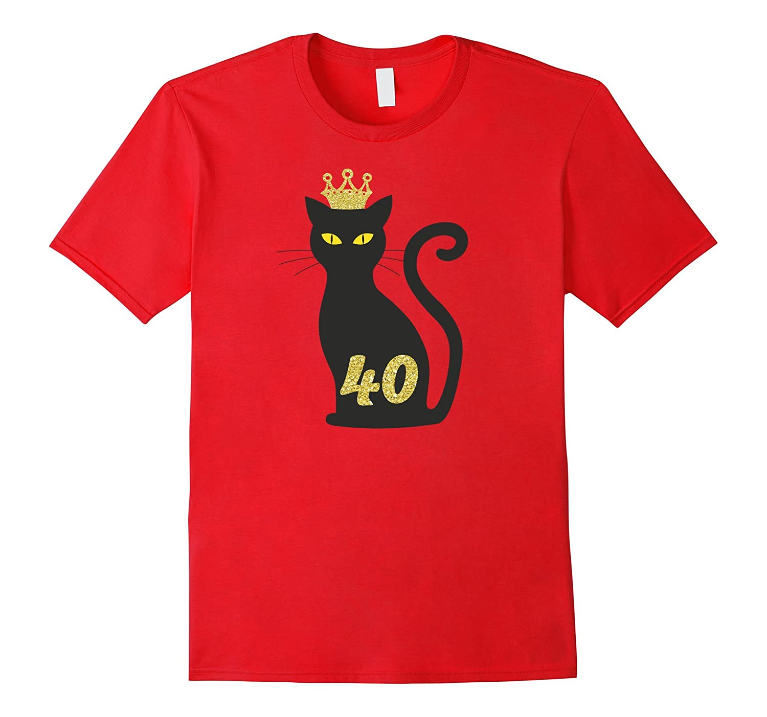 40th Birthday Black Cat and Gold Crown Cat lover T-shirt-TH