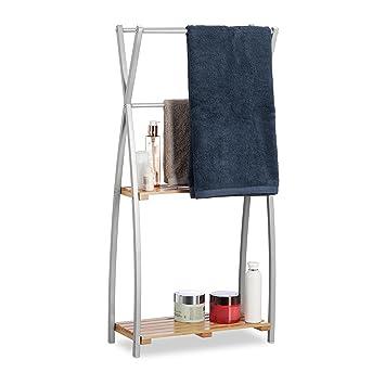Relaxdays Handtuchhalter Stehend X Design 2 Ablagen