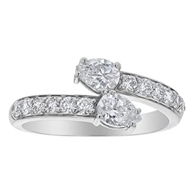 881a97eda16 Olivia Paris 14k Gold Two Stone Pear Shape Diamond Engagement Ring (1.00  cttw, F-G