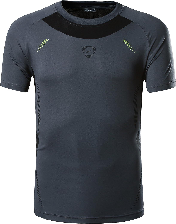 jeansian Hombre Camisetas Deportivas Dry Fit tee Shirt Tshirts T-Shirt Sport Tops LSL133