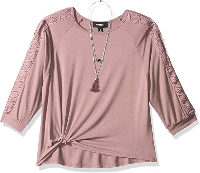 Amy Byer Girls Big Long Sleeve Top with Lace Inset