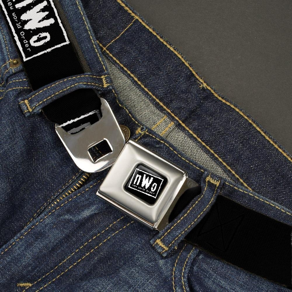 1.5 Wide-24-38 Inches NWO//New World Order icon Repeat Black//White Buckle-Down Mens Seatbelt Belt WWE Regular