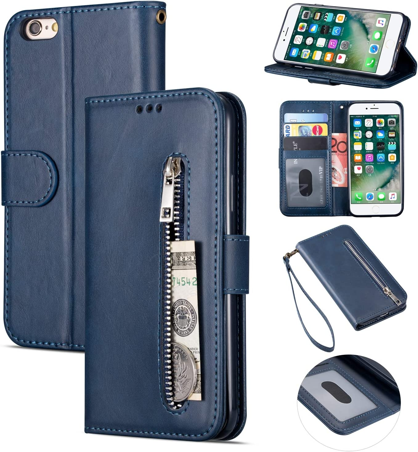 Gray Zipper Wallet Case with Black Dual-use Pen for iPhone 6 Plus,Aoucase Money Coin Pocket Card Holder Shock Resistant Strap Purse PU Leather Case for iPhone 6 Plus//6S Plus 5.5