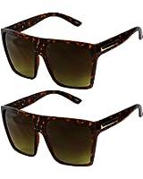 Basik Eyewear - Big XL Large Square Trapezoid Shape Oversized Fashion Sunglasses