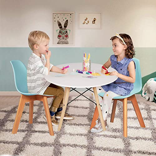 VECELO Kids Size Side Dining Room Set of 4 Natural Wooden Legs Armless Chair