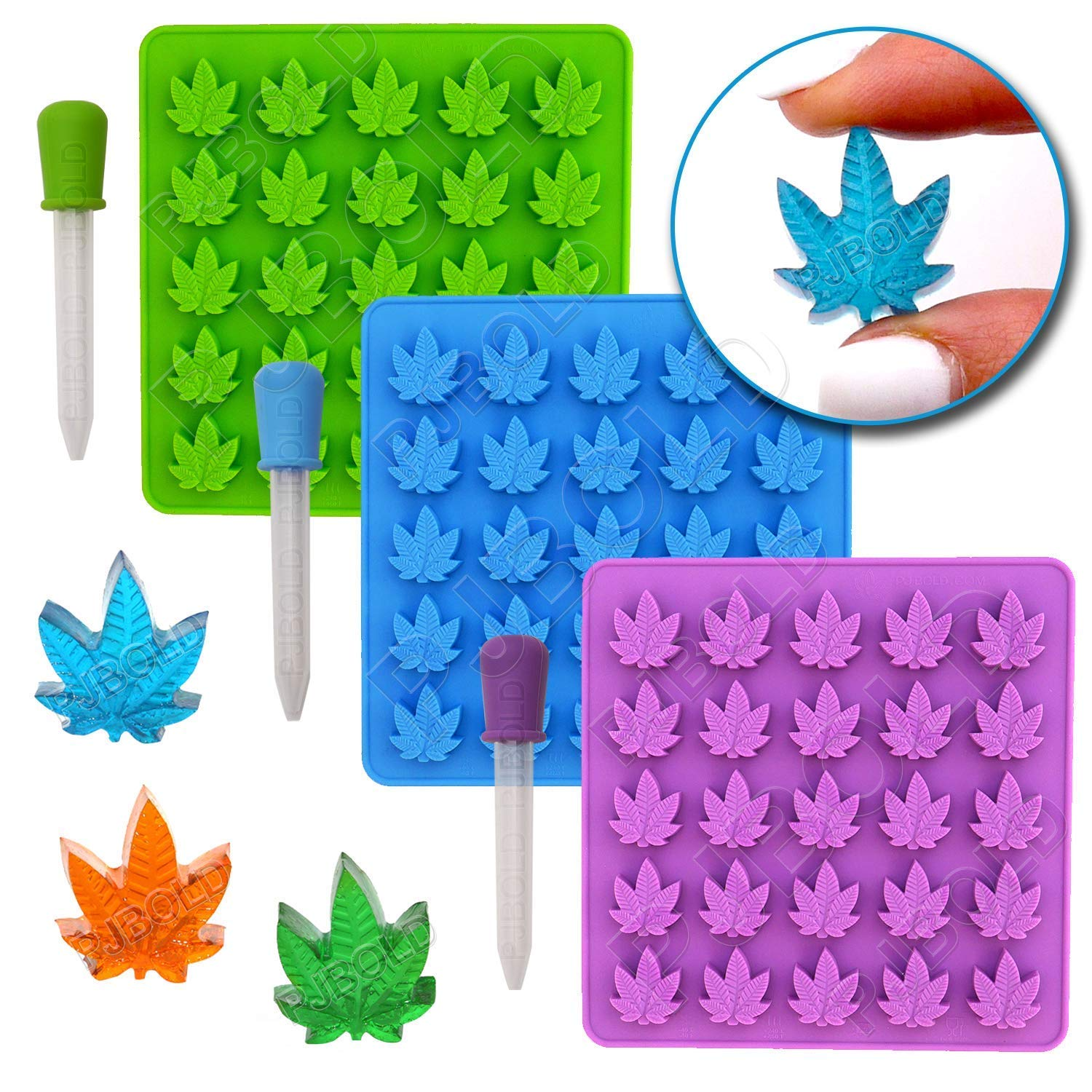Gummy Leaf Silicone Candy Mold Party Novelty Gift - 3 Pack by PJ Bold