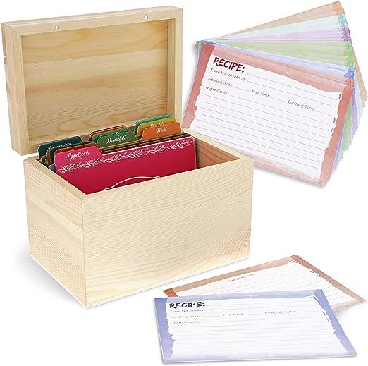 Juvale DIY sin color de madera Receta Caja de organización con tarjetas y separadores – Color natural de madera: Amazon.es: Hogar