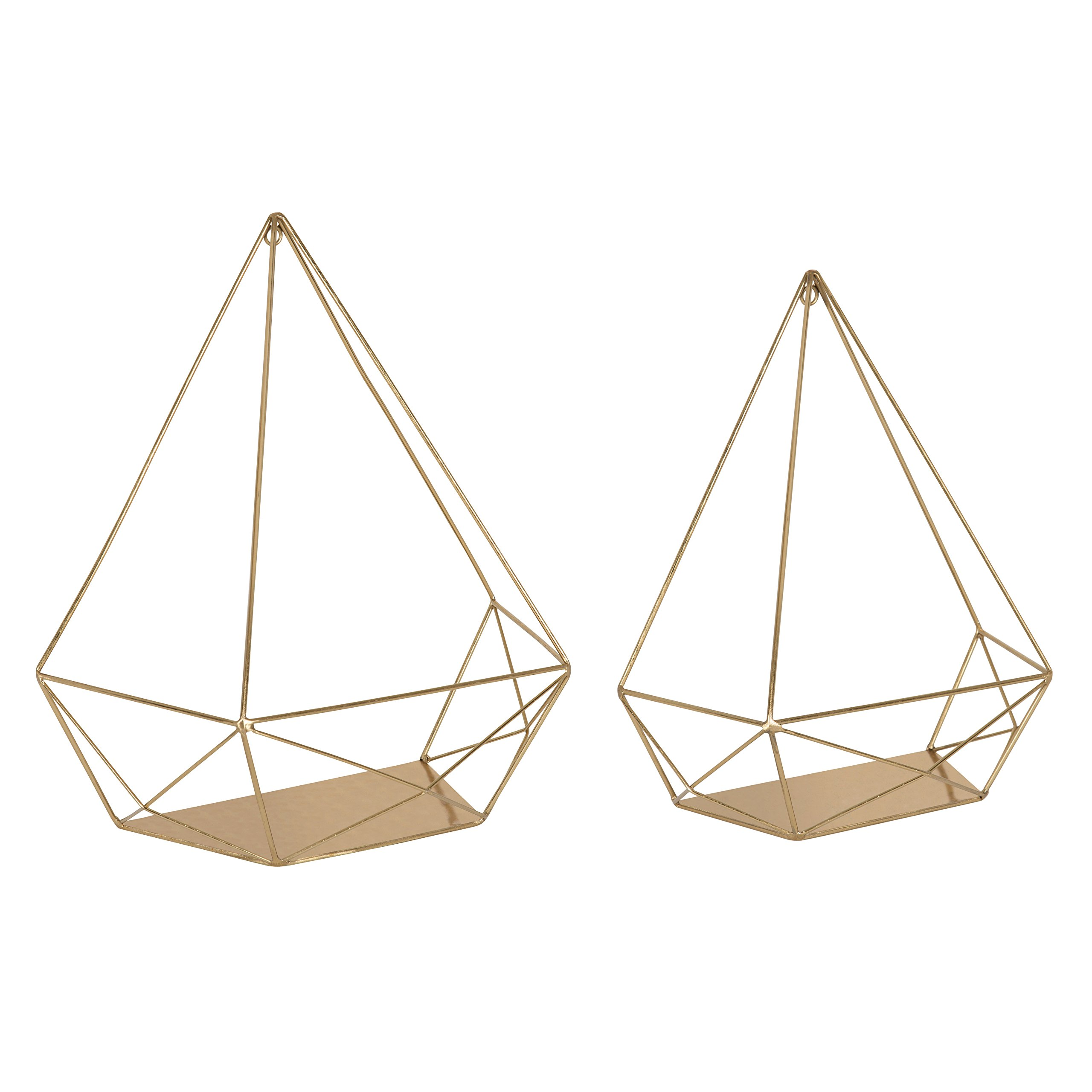 Kate and Laurel Prouve Decorative Geometric Multi-use Metal Wall Display Shelves, Gold, 2 Piece Set by Kate and Laurel