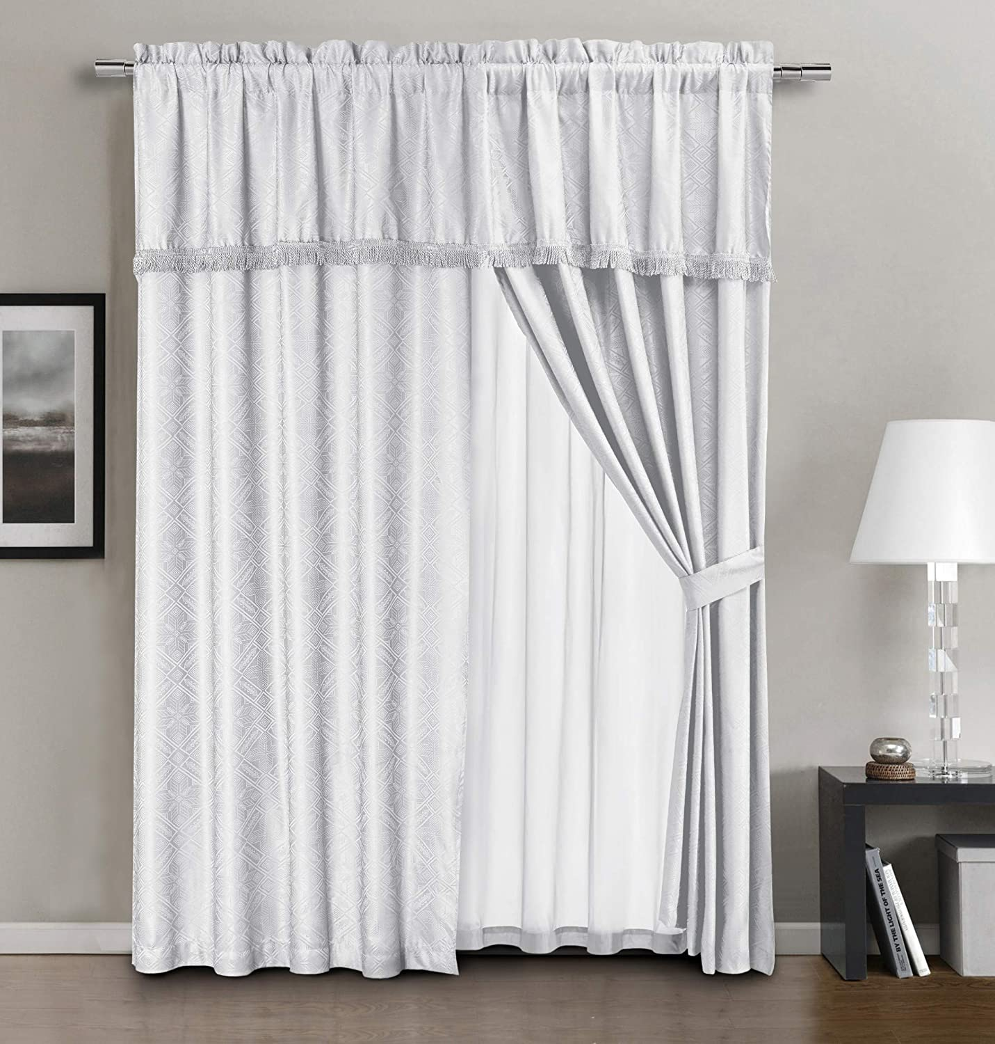 Chezmoi Collection Devon 4-Piece White Diamond Geometric Jacquard Window Curtain/Drape Set - Attached Sheer Backing and Valance