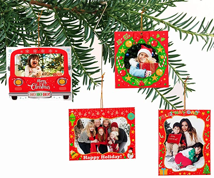 jollylife 20PCS Christmas Photo Frame Ornaments - Xmas Tree Party Decorations Family Picture Keepsake Decor