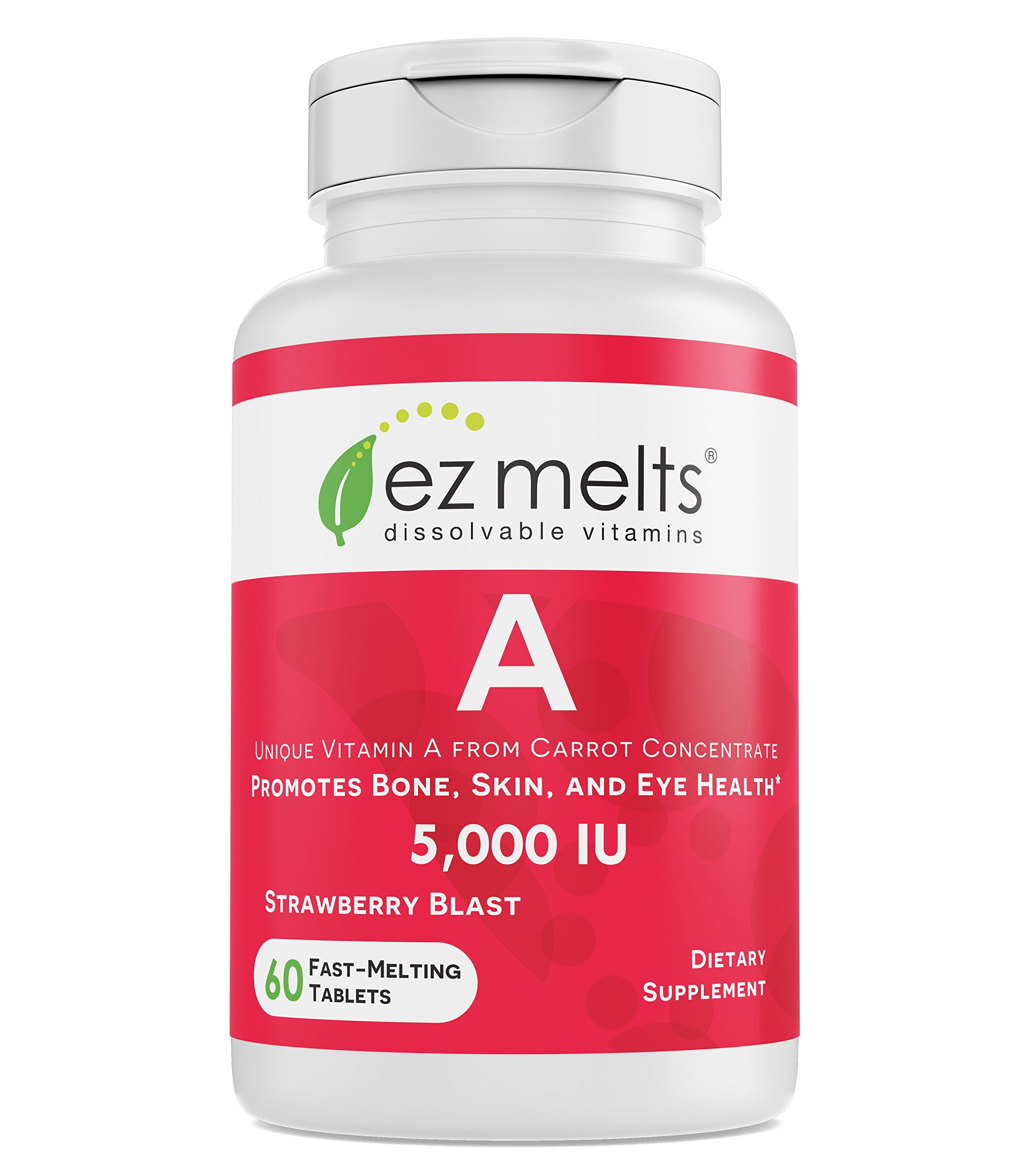 EZ Melts A as Retinol from Carrot Concentrate, 5,000 IU, Sublingual Vitamins, Vegan, Zero Sugar, Natural Strawberry Flavor, 60 Fast Dissolve Tablets by EZ Melts