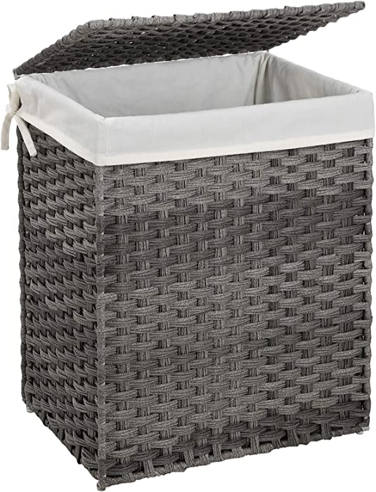 SONGMICS Handwoven Laundry Hamper, Synthetic Rattan Laundry Basket with Removable Liner Bag, Clothes Hamper with Handles for Laundry Room, Gray ULCB51WG