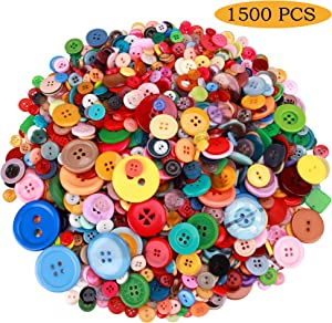 Greentime 1500 pcs Round Resin Buttons Mixed Color Assorted Sizes for Crafts Sewing DIY Children's Manual Button Painting DIY Handmade Ornament Buttons, 2 Holes and 4 Holes