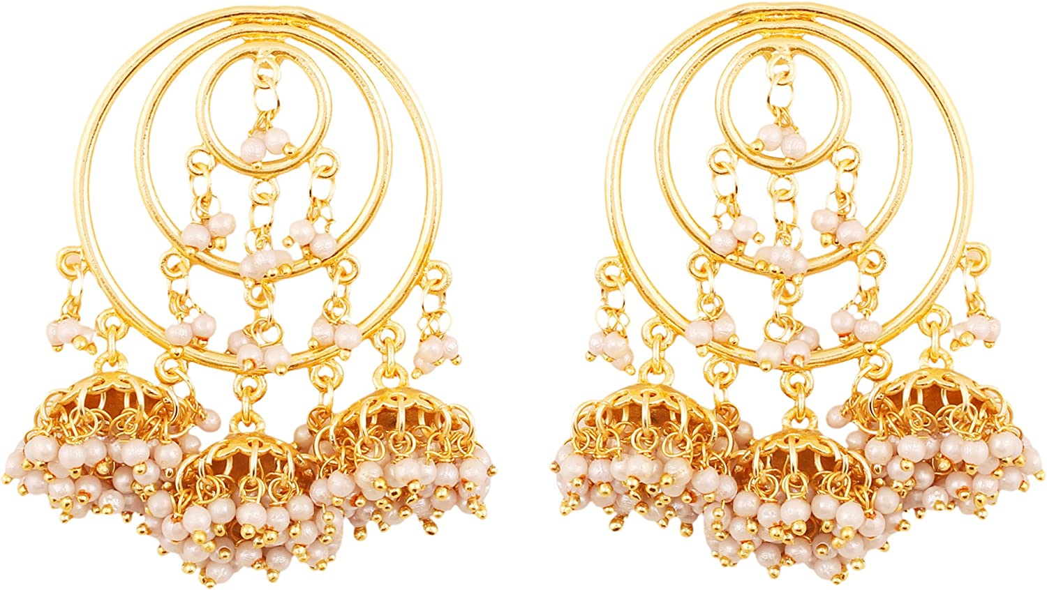 Touchstone Indian Bollywood Traditional Circular Wire Bridal Designer Bali jhumki Earrings with Bunches of Faux Pearls for Women in Gold Tone