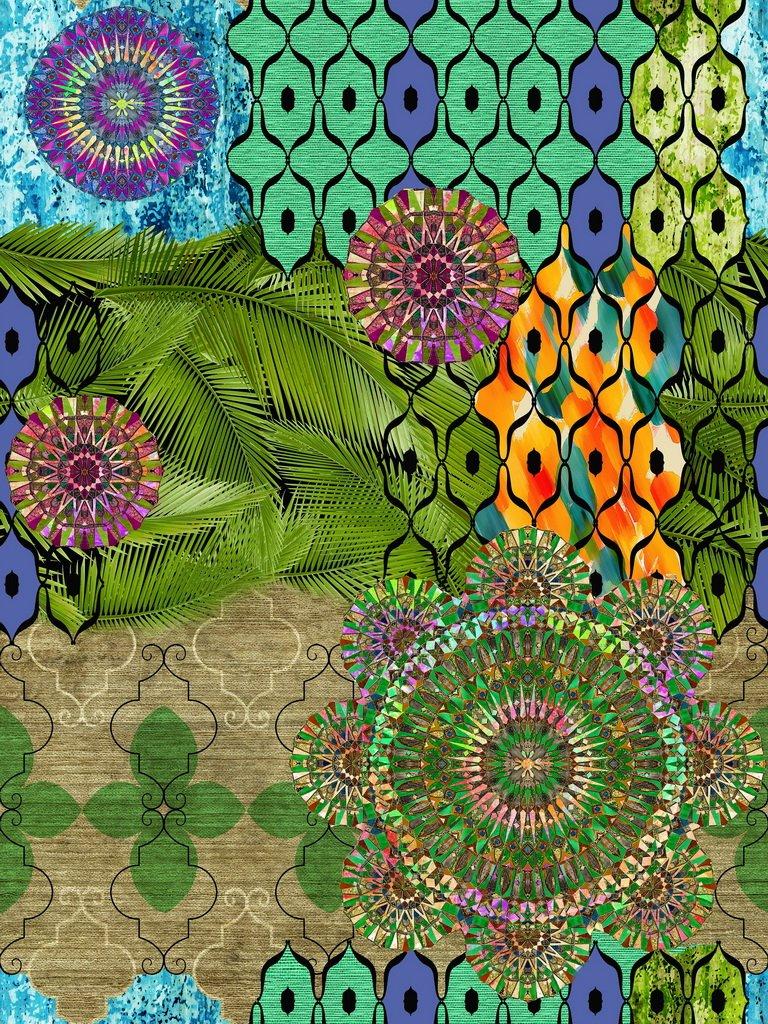 Vilber Bohemian Mandala Teppich, Vinyl, Mehrfarbig, 153 x 200 x 0.2 cm