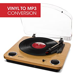 ION Audio Max LP | Three Speed Vinyl Conversion Turntable with Stereo Speakers, USB Output to Convert Vinyl Records to Digital Files and Standard RCA & Headphone Outputs