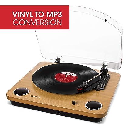 ION Audio Max LP - Tocadiscos de vinilo de 3 Velocidades con Altavoces estéreo, Salidas Auriculares y RCA, Salida USB para Convertir Discos de Vinilo ...