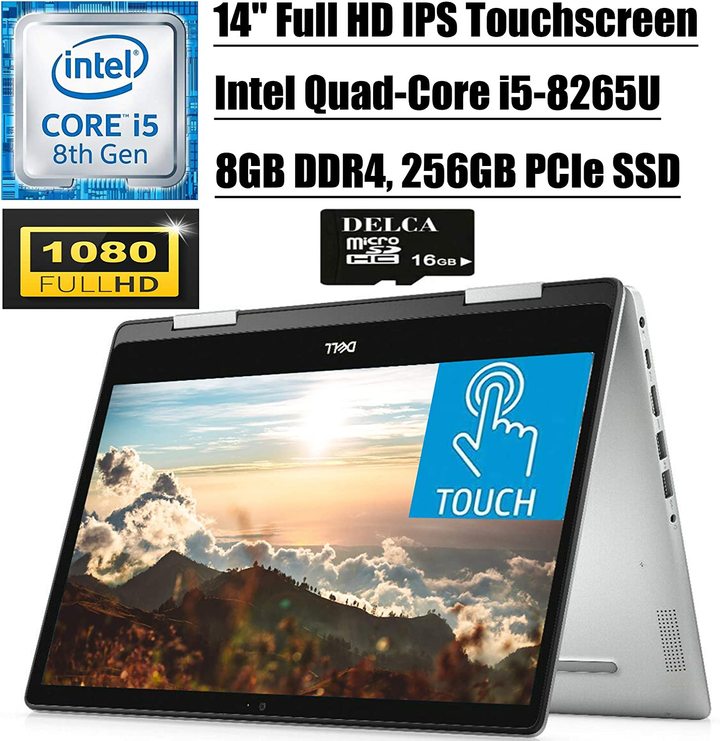 "Dell Inspiron 14 5000 5482 2020 Newest Convertible 2-in-1 Laptop I 14"" FHD Touchscreen I Intel 4-Core i5-8265U (> i7-7500U) I 8GB DDR4 256GB PCIE SSD I Backlit KB Win 10 + Delca 16GB Micro SD Card"