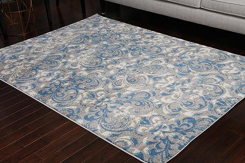 Paris Collection Oriental Carpet Area Rug Blue Cream Grey Grey 5055grey 5×7 6×8 5 2×7 4