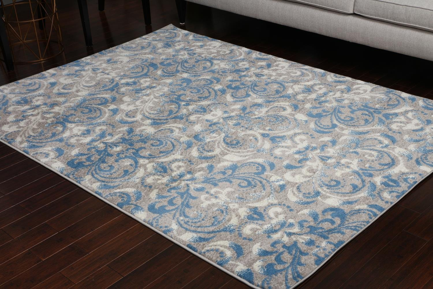 Paris Collection Oriental Carpet Area Rug Blue Cream Grey Grey 5055grey 2x8 2'2x7'2