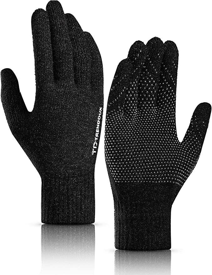 Evridwear Mens Thermal Winter Touch Screen Gloves with Elastic Cuff for Cold Day