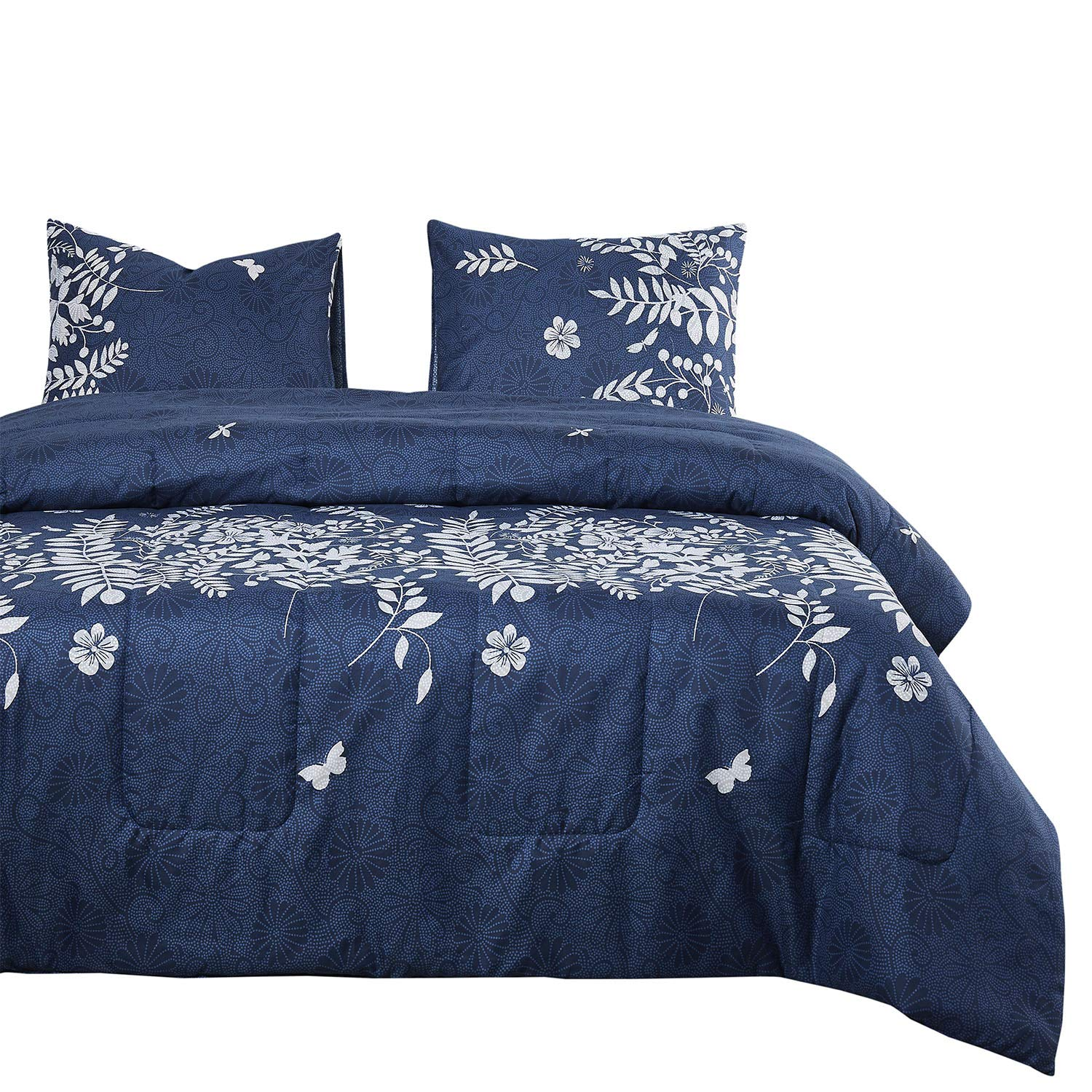 Wake In Cloud - Navy Blue Quilt Set, Gray Grey Floral Flowers Tree Leaves Modern Pattern Printed, Soft Microfiber Bedspread Coverlet Bedding (3pcs, Queen Size)
