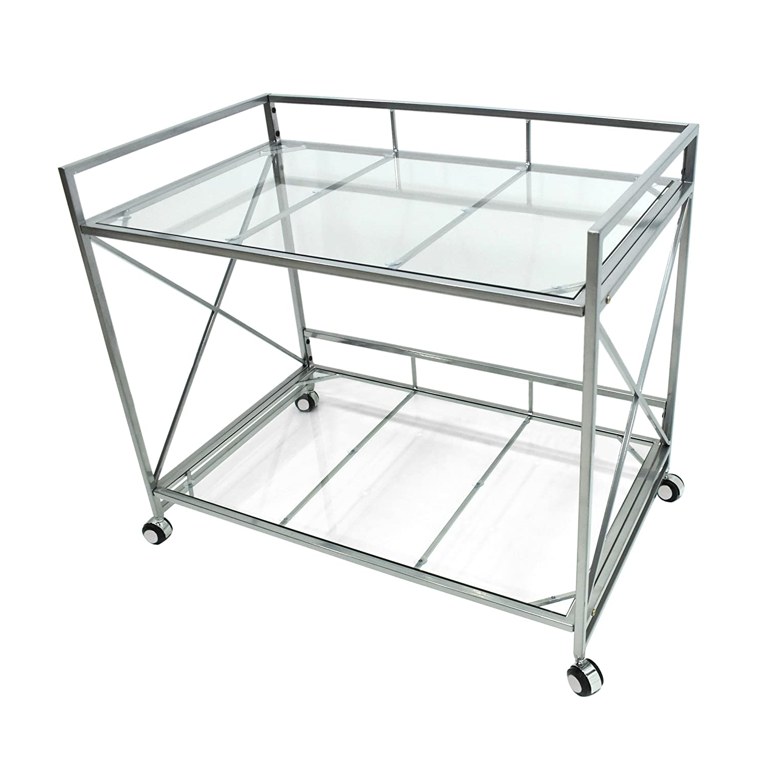 Danae Industrial Modern Iron and Glass Bar Cart, Silver